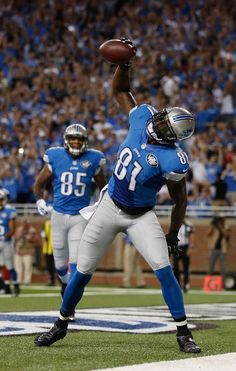 Calvin Johnson celebrates a first quarter touchdown, 09/08/2014
