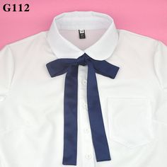 Classic Japanese High School Girls Neck Tie Collar Rope JK Uniform Bow Tie Solid Color Sweet Preppy Chic Graduation Photo Black