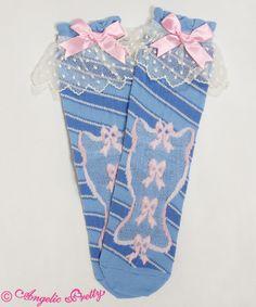 Lolibrary | Angelic Pretty - Socks - Candy Ribbon Stripe Crew Length Socks