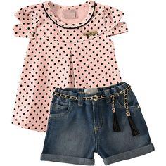 Conjunto Infantil Jeans Feminino de Verão 2013 Bege - Milon :: 764 Kids | Roupa bebê e infantil