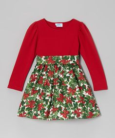Take a look at this Red & Green Holly Dress - Infant, Toddler & Girls by Dreaming Kids on #zulily today! $24.99