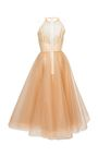 This **Alex Perry** dress features a halter neckline, a fitted bodice, and a crinoline A-line midi skirt.