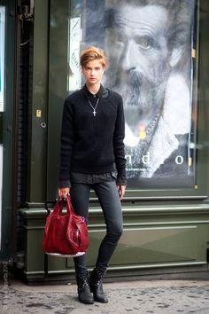 Dutch model Bo Don - androgynous in Sandro #streetstyle