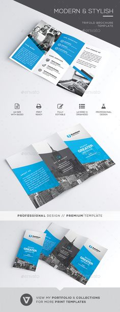 Trifold #Brochure - Corporate Brochures Download here: https://graphicriver.net/item/trifold-brochure/19964552?ref=alena994