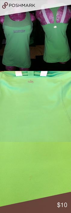 NWOT Jazzercise  gym Shirts Size M neon green smoke free . Photo shows tiny spot. Very small. Built in bar Tops Tank Tops