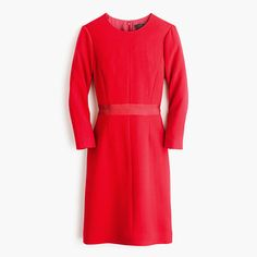 "If there's ever a time and a place for a polished dress with a sleeve, it's at the office. With bracelet-length zip sleeves and a defined grosgrain waistband, this sleek wool crepe dress checks the ""covered up"" box while still looking incredibly chic. <ul><li>Fitted silhouette.</li><li>Falls above knee, 39"" from high point of shoulder (based off size 6).</li><li>Wool.</li><li>Bracelet sleeves.</li><li>Back zip.</li><li>Lined.</li><li>Dry clean.</li><li>Import.</li></ul>"