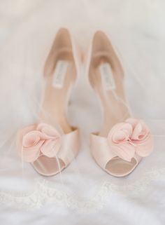 Pastel, blush pink satin bridal shoes for a soft pop of pink {Rebecca Yale Photography}