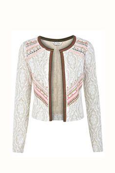 Embroided Jacquard Jacket - Coats & Jackets - Clothing - Miss Selfridge Classy Outfits, Beautiful Outfits, Casual Outfits, Look Fashion, Fashion Outfits, Womens Fashion, Fashion Design, Mode Boho, Embroidered Jacket
