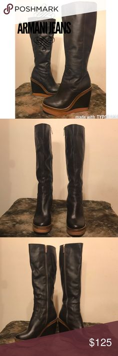 """Armani Jeans Black Leather Tall Boots! ❤️Sz 37! Armani Jeans tall leather boots! 😍 Size 37! These are stunning wedge boots in black genuine leather! Some wear detailed in photos but no damage or stains. One spot on the R ankle also has a tiny indent. It's not a hole or rip just an indent. Tan suede inside and silver zipper. Supper comfortable to wear and just plan awesome! 8"""" heel to toe, 3"""" width, 14"""" tall and a 4"""" heel! 🔥 Armani Jeans Shoes Heeled Boots"""