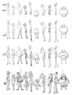 Character Shape Sketching 2 (with video link) by LuigiL on DeviantArt Cartoon Characters Sketch, Cartoon Drawings Of People, Sketches Of People, Cartoon People, Cartoon Sketches, Cartoon Styles, Drawing People, Cartoon Body, Cartoon Head
