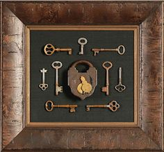 The tops of pub tables should be shadow boxes so that we can display some fun souvenirs from the UK. Antique Keys, Vintage Keys, Vintage Crafts, Skeleton Key Crafts, Skeleton Keys, Key Projects, Old Keys, Framed Art, Wall Art