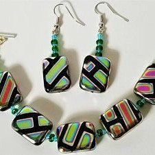 New item! This graphic bracelet and earring set is now available in my shop for $20!
