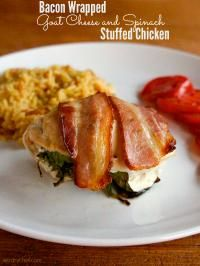 Bacon-Wrapped Stuffed Chicken Breasts with Spinach and Goat Cheese on ...