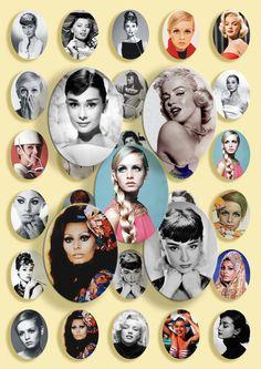Digital Collage Sheet  Audrey Hepburn  Marilyn by babushkadesign, $3.50