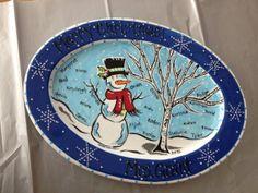 Custom painted Snowman Platter for Teacher by PotteryandPaintbrush, $65.00