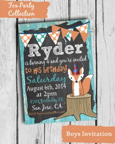 Fox Birthday Party Invitation Fox Party by BloomberryDesigns, $15.00