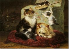 Henriette Ronner Knip - Henriette Ronner - Knip - A Cat Kittens and a Toy Terrier on a Red Cushion Painting