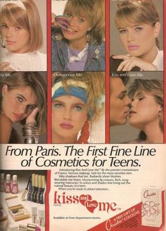 Kiss Me Teen cosmetics ad, 1986 1980s Makeup, Vintage Makeup Ads, Retro Makeup, Vintage Beauty, Vintage Ads, Beauty Ad, Beauty Secrets, Beauty Products, Cosmetics & Fragrance