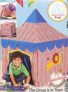 The Circus is in Town: Create a darling slipcover for your card table that looks like a circus tent!  Kids will love this fort!  Pattern includes all instructions for the project, which fits a standard size card table.  $12 shabbyfabrics.com