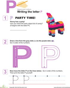 Worksheets: P is for Party! Practice Writing the Letter P  Can find all the letters Preschool