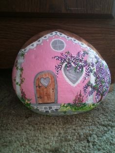 Heart Cottage - hand painted rock E. R. 2014