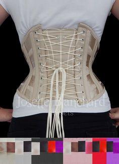 Ref.:  WC 008.Corset waist-cincher em sarja de algodão bege , com detalhes em fitas bege, bonecasing e viés em sarja bege e fechamento frontal por busk . Site: http://www.josetteblanchardcorsets.com/ Facebook: https://www.facebook.com/JosetteBlanchardCorsets/ Email: josetteblanchardcorsets@gmail.com josetteblanchardcorsets@hotmail.com