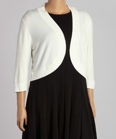 Loving this Ivory Three-Quarter Sleeve Shrug - Plus on #zulily! #zulilyfinds
