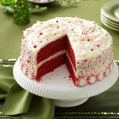 Peppermint Red Velvet Cake Recipe -A couple of years ago, I saw a recipe for a peppermint red velvet cake that called for cake mixes. I prefer homemade cakes, so I developed this one from scratch. It is a beautiful, elegant dessert. In the summer, I omit the peppermint and use fresh berries, adding them between the layers and on top of the frosting. —Aimee Fortney, Fairview, Tennessee