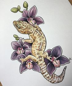 Huge shout out to who does an amazing job turning my paintings into fantastic quality stickers! Kunst Tattoos, Tattoo Drawings, Body Art Tattoos, Art Drawings, Gecko Tattoo, Lizard Tattoo, Animal Sketches, Animal Drawings, Art Sketches