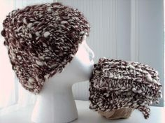 Big Knit Chunky Hat and Scarf Set Coffee and Cream. $50.00, via Etsy.