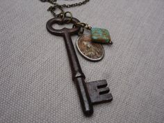 Rustic Faith Skeleton Key Religious Medal Turquoise Vintage Necklace {Jeweled Faith - etsy}