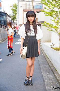 Aria on the street in Harajuku wearing Romantic Standard top with a suspender skirt and Haruta loafers. Japanese Street Fashion, Tokyo Fashion, Harajuku Fashion, Korean Fashion, Harajuku Style, Outfits With Hats, Cool Outfits, Neko, Tokyo Street Style