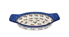 Polish Pottery Ceramic 13 Oval Baking Dish with Handles  Hand Made S722C ** Click here for more details @
