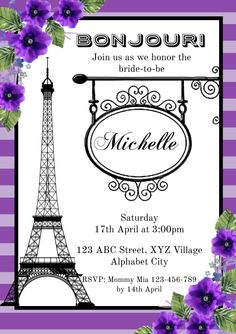 Customize this design with your video, photos and text. Easy to use online tools with thousands of stock photos, clipart and effects. Free downloads, great for printing and sharing online. A4. Tags: bridal shower, bridal shower invitation, paris bridal shower, paris bridal shower invitation, Wedding , Wedding