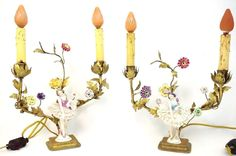 Antique Pair French Tole Metal Figural Boudoir Lamps Floral Ballerina Rococo #Unknown