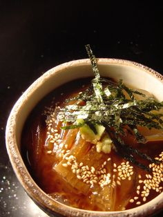 In time for summer~ tokoroten ところてん - A cool refreshing agar-based noodle dish served with ponzu, nori and sesame seeds.