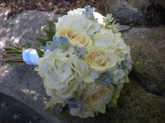 Ivory and Blue Flowers bridal bouquet design by Julie Floyd of Creative Gardens, Lee, NH  www.creativegardensnh.com