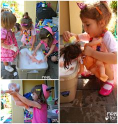 This is such a great way to beat the summer heat. Bring the dolls outside and give them a bath. A fun, soapy sensory experience awaits.