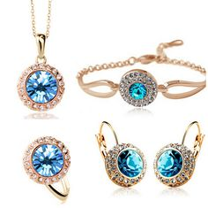 Wedding Crystal Jewelry Sets Vintage Moon River Rhinestone Gift Top Quality set ring bracelet Necklace Earrings
