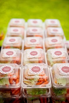 Love the idea of making and packaging my own sandwiches, carrots, chips, etc. Then let people grab their own and eat from it like a plate. Grab these packaged foods and put in personalized picnic baskets of other treats and toys for a summer birthday picnic in a park!