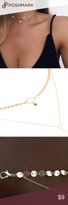 Dainty star lariat gold layered necklace! 🌟🆕 Brand new and in original packaging beautiful layered necklace! Features a circle with a star hanging from the middle; features hanging lariat with bar at the end. Adjustable clasp and perfect for any occasion! love Jewelry Necklaces