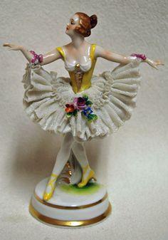 """Vintage Dresden German Lace Porcelain  Dancer Ballerina Ballet Figurine  5 1/2"""" #Dresden"""