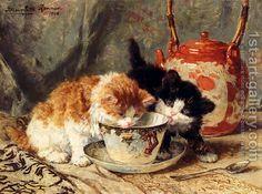 Tea-Time by Artist Henriette-Ronner-Knip