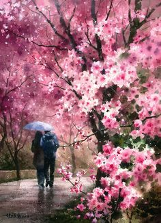Watercolor by Lin Ching Che ~ Cherry Blossom Rain Watercolor Landscape, Landscape Art, Watercolor Flowers, Watercolor Paintings, Painting People, Love Painting, Great Paintings, Beautiful Paintings, Art Asiatique