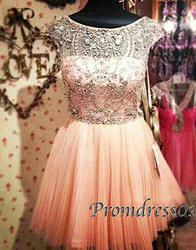 Vitage pink round neck beaded mini senior prom dresses for season 2015
