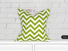 """18"""" Decorative Throw Pillow / Accent Cushion Cover (Indoor) (White and Chartreuse Chevron)"""