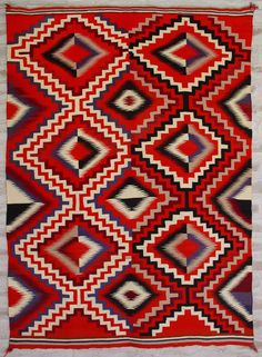 Historic Germantown Navajo Rug. Germantown Navajo Rug: Circa 1880's. All 4-Ply Germantown yarn: exceptional example finely and tightly woven: MINT. Germantown yarn (from Germantown Pennsilvania) was first introduced to the Navajo at Bosque Redondo*, so the women would have some material to weave their highly prized rugs. This and more important textiles for sale on CuratorsEye.com.