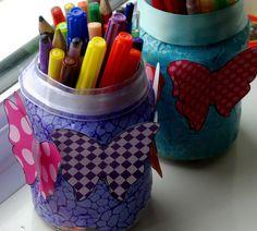 Pencil storage jars - fun easy kids craft
