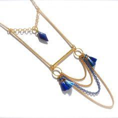 Sautoir pompon et losange bleu roi, tube et anneau doré
