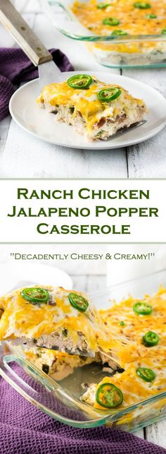 This decadent Ranch Chicken Jalapeno Popper Casserole is loaded with tender chunks of chicken smothered in ranch infused cream cheese, crisp bacon, bold jalapenos and a blanket of melted cheese. Jalapeno Poppers, Jalapeno Popper Casserole Recipe, Chicken Jalapeno, Keto Recipes, Dinner Recipes, Cooking Recipes, Healthy Recipes, Jalapeno Recipes, Parmesan